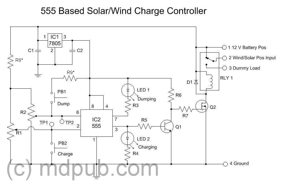 a new solar / wind charge controller based on the  chip, circuit diagram