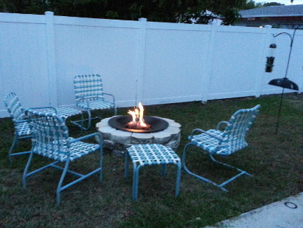 My new backyard gas fire pit.