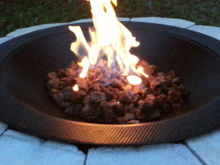 Closeup of the fire pit burning.