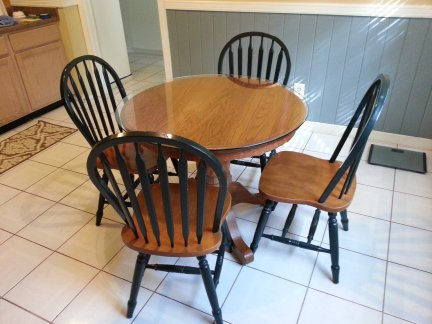 My new dining table and chairs.