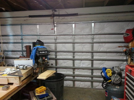 The newly insulated garage door.