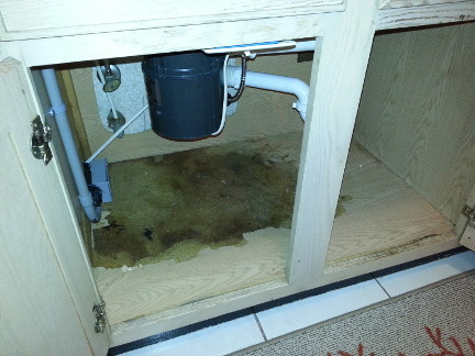 Water damage under the kitchen sink.