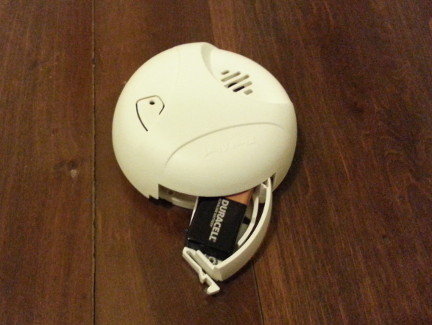 A smoke detector with a dead battery.
