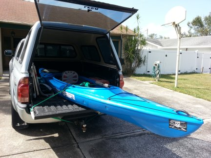 My new kayak in my truck.